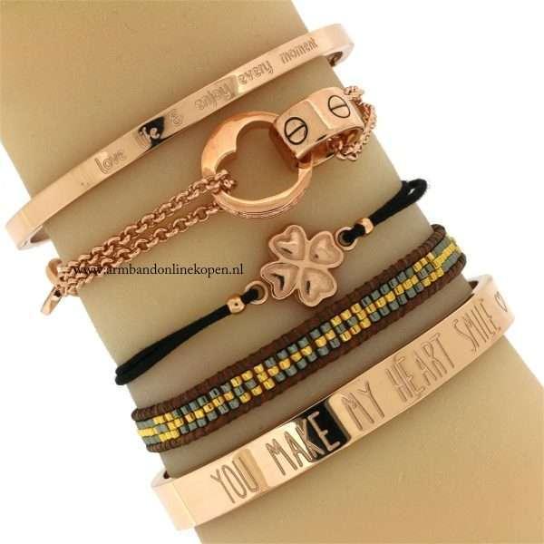 armbanden rose goud bangle miyuki kralen steen