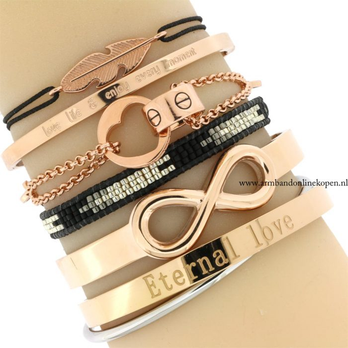 armbanden rose goud infinity bangles quote armcandy