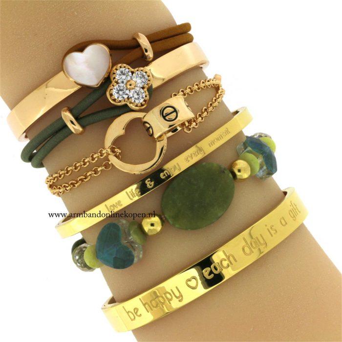 armbandje natuur steen army green