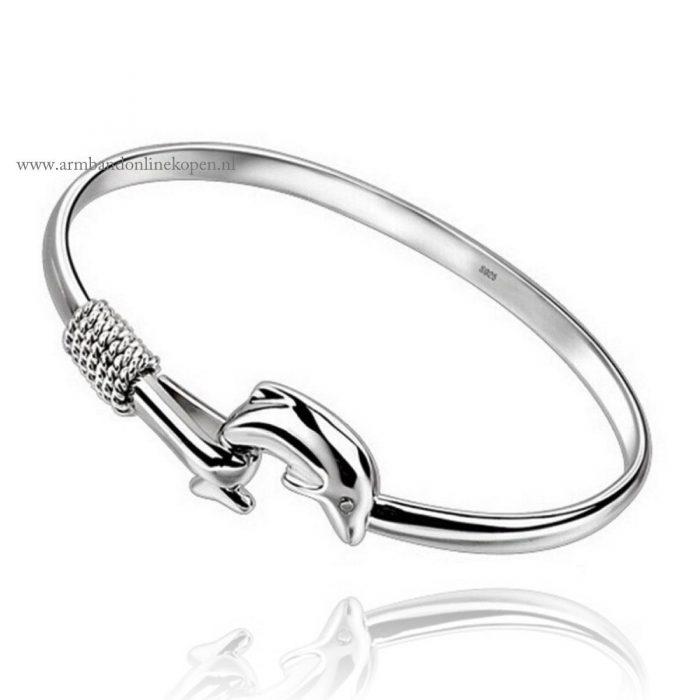 bangle armband dolfijn zilver