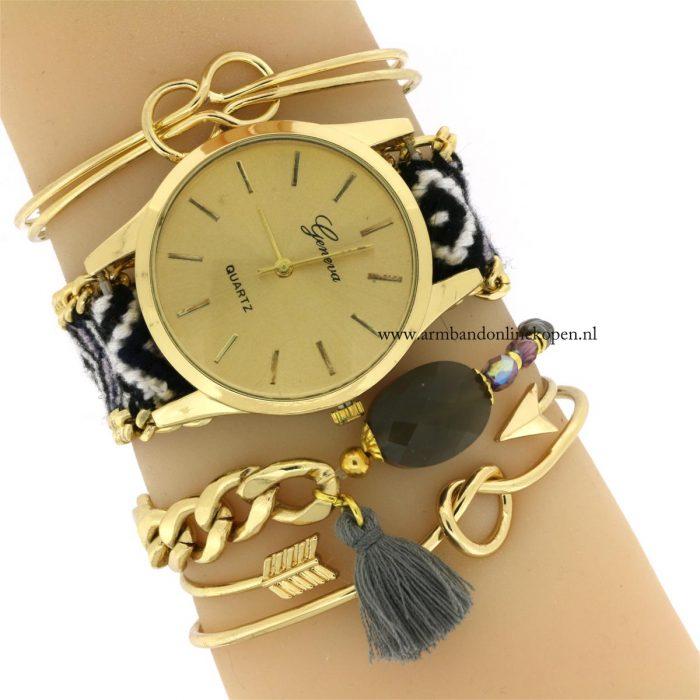 boho horloge armband facet steen bangles