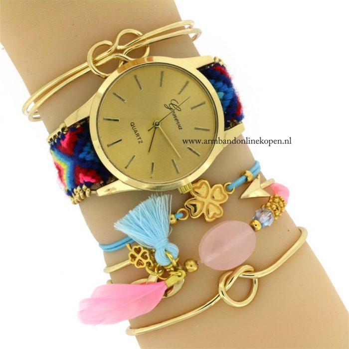 boho horloge gratis armband klavertje vier baby blue