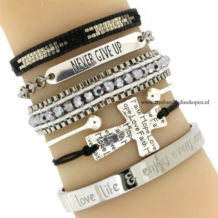 geloof hoop en liefde armbandje zilver zwart armcandy
