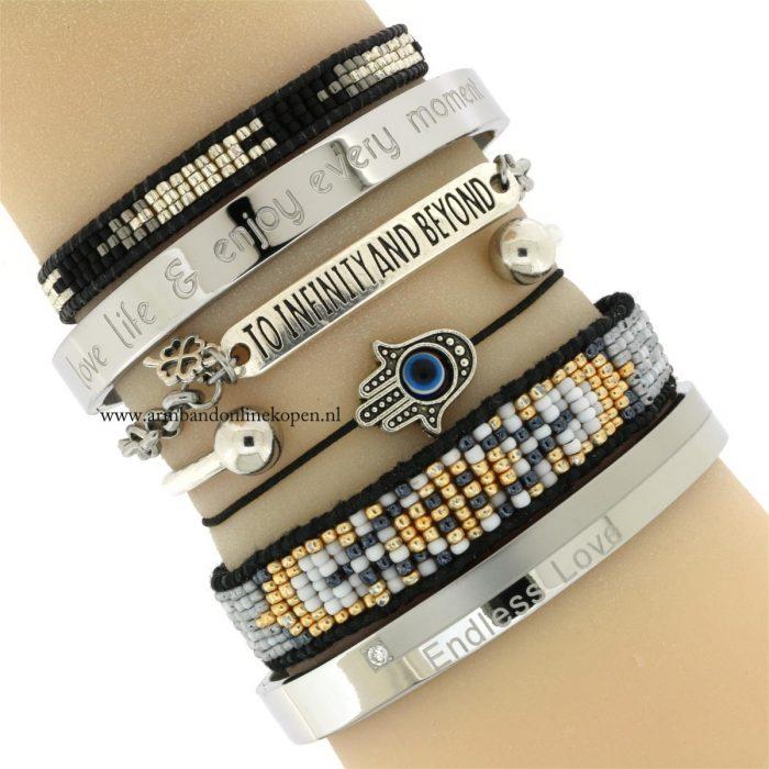 geluks quote armband to infinity and beyond hamsa hand
