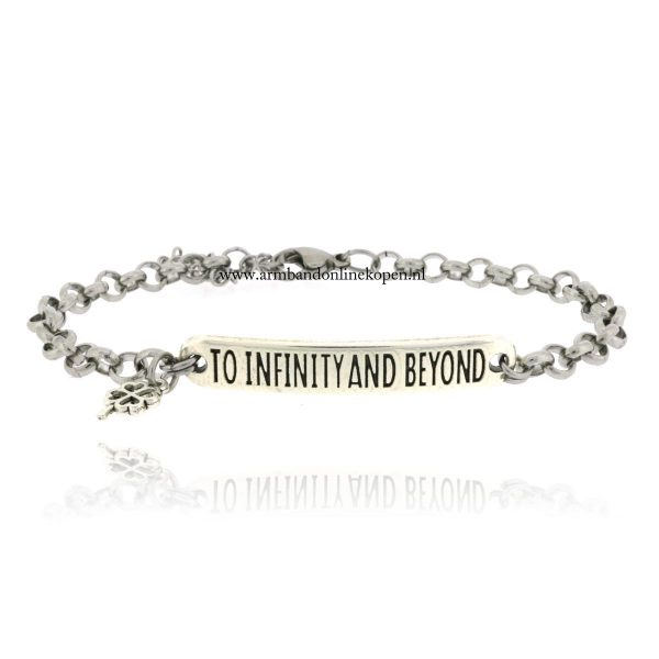geluks quote armband to infinity and beyond zilver