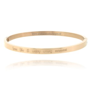 gouden quote armband love life enjoy every moment