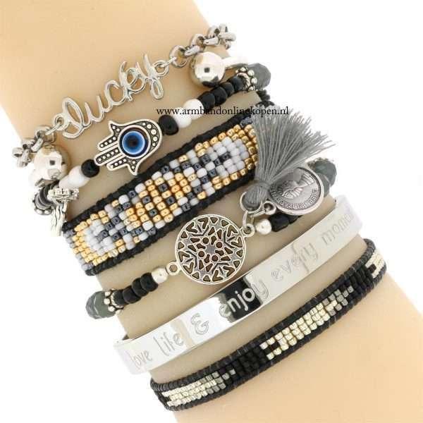 hamsa hand armband boze oog zilver