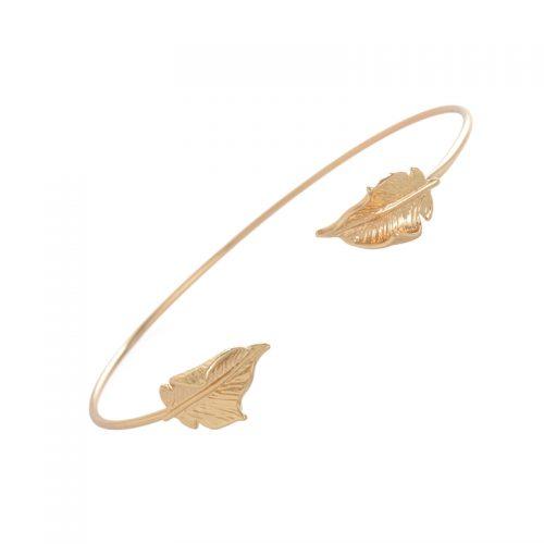 hippe armband veertjes goud