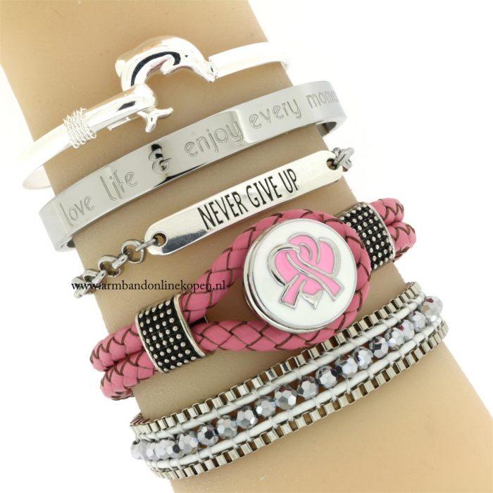pink ribbon armband leer armcandy