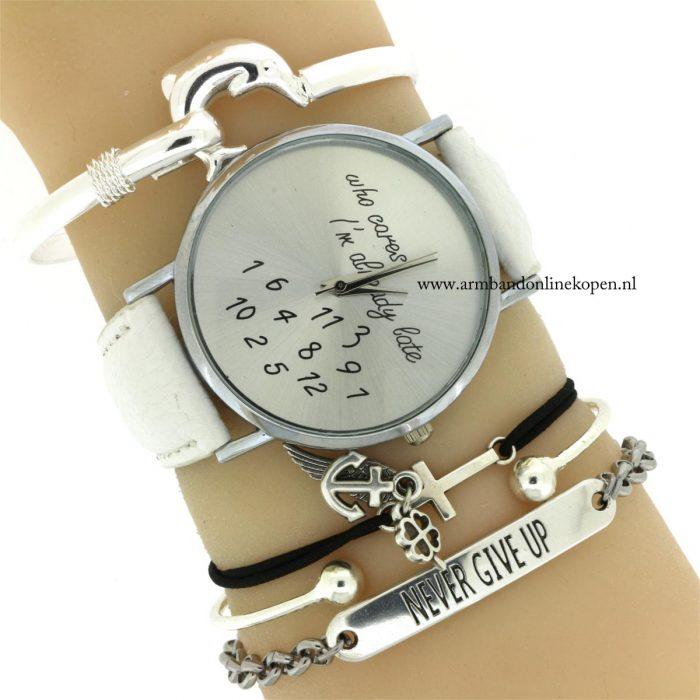quote armbandjes never give up horloge