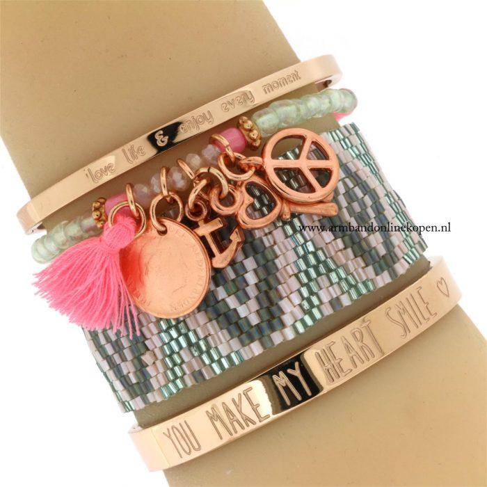 rose goud armbandje miyuki kraaltjes