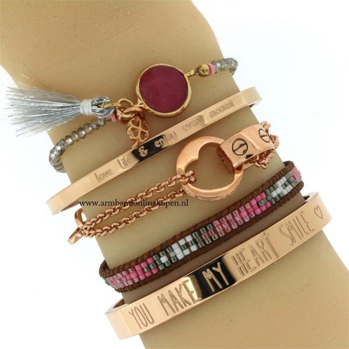 subtiele armbandjes rose goud bangle miyuki steen