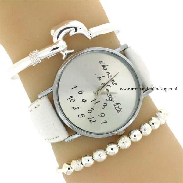 zilver armbanden horloge armcandy