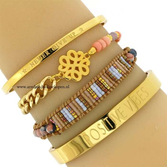 armband baroque ornament goud zalmroze