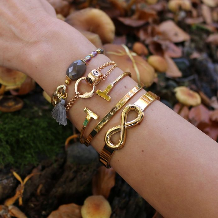 armband steen grijs schakels goud bangles