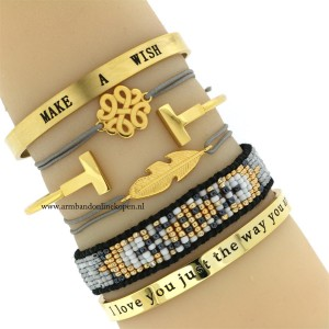 armband veer goud grijs quote bangle make a wish