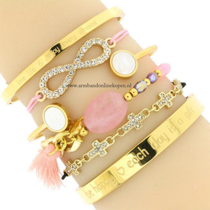 armbanden 2016 roze quartz steen kleur 2016 quote bangles