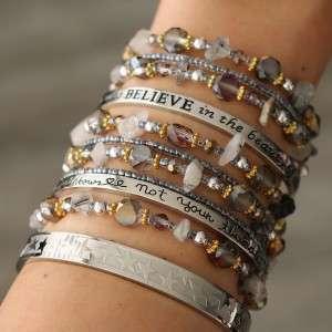 bangle armband miyuki kralen grijs quote bangles
