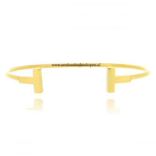 edelstaal bangle cuff bar armband goud