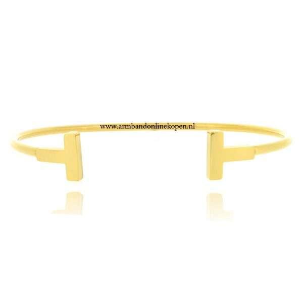 edelstaal bangle cuff bar armband goud