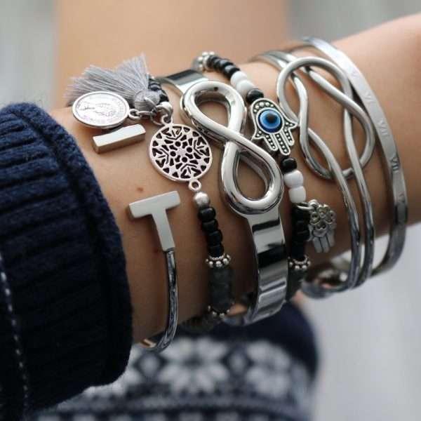 hamsa hand armband zilver zwarte kraaltjes