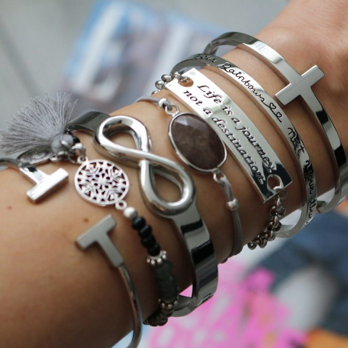 hippe armbanden staal bangles quote