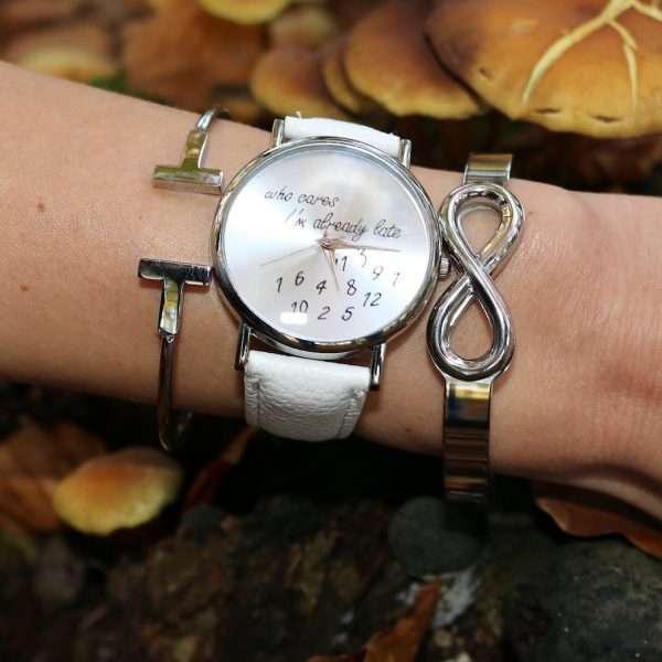 hippe quote horloge armbanden zilver
