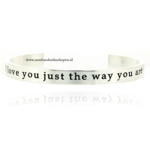 quote armband I love you just the way you are zilver