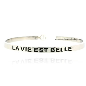quote armband bangle la vie est belle zilver
