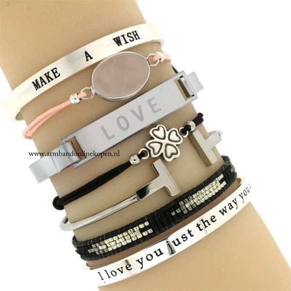 quote armbanden zilver tinten