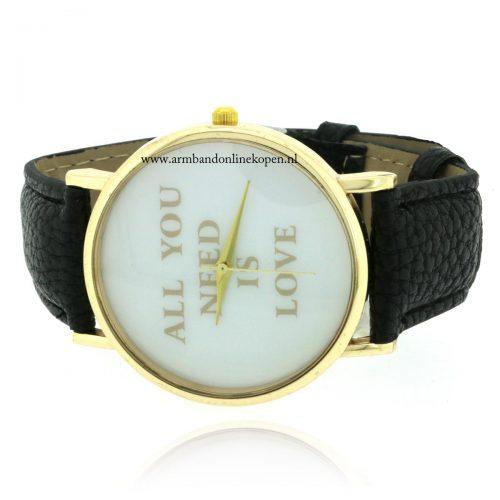 quote horloge all you need is love goud zwart