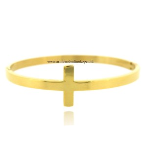 stalen armband kruis goud