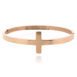 stalen armband kruis rose goud