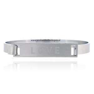 stalen armbanden love zilver