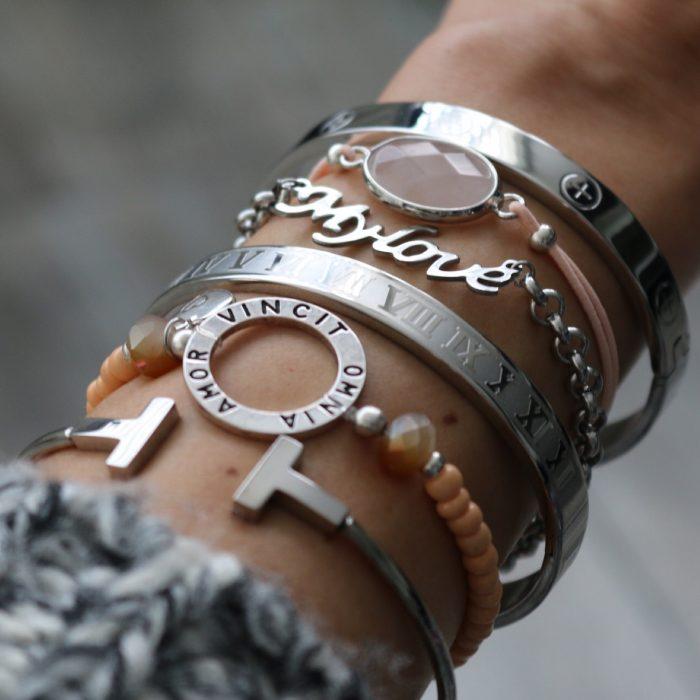 stalen bangles armbanden love zilver