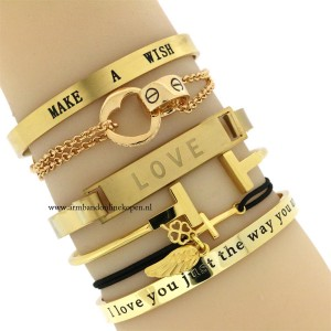 stalen quote armbanden mix en match armbandjes