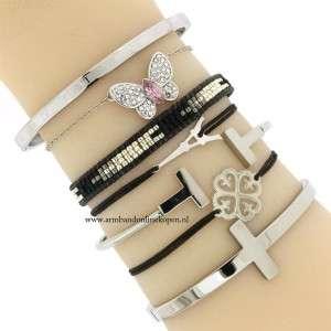 vlinder armband zilver strass steentjes