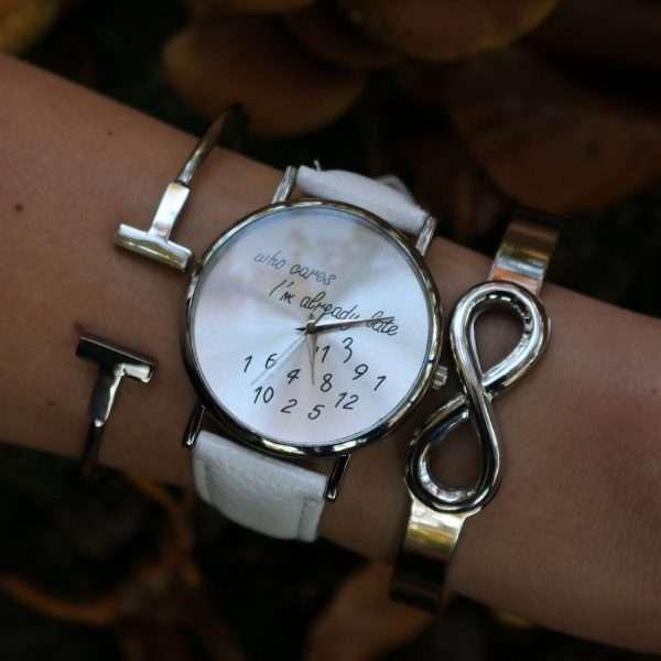 zilver armbanden horloge trendy quote