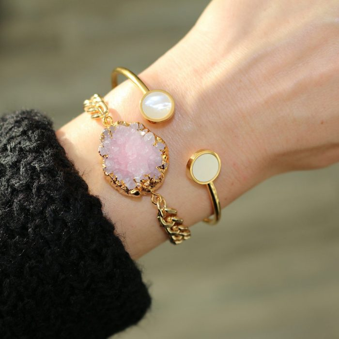 Armband natuur steen rose goud schakels