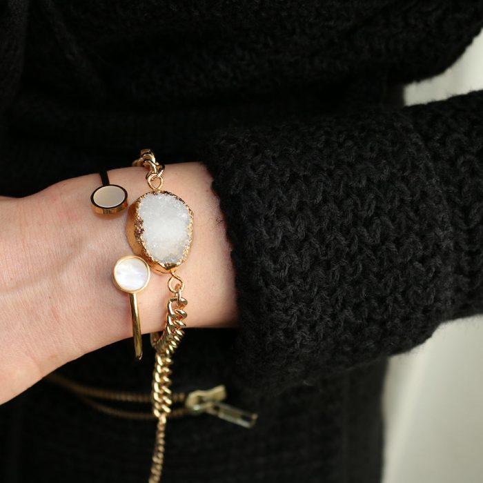 Armband natuursteen wit goud goedkoop kopen