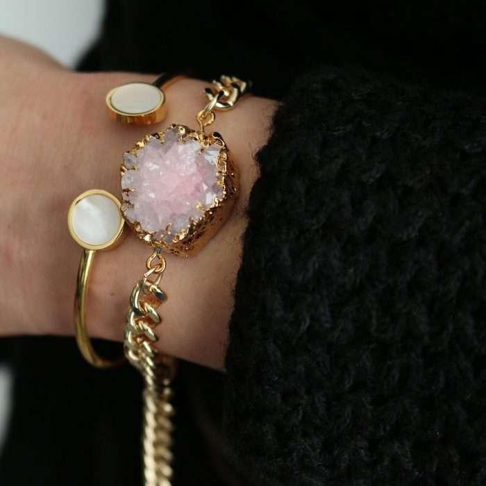 Hippe armband natuur steen rose goud