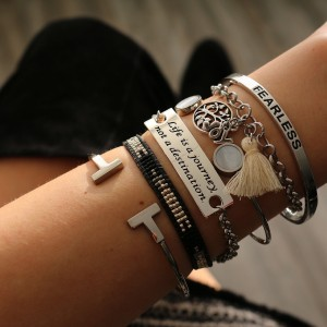 Quote armband fearless armcandy zilver quote armbandjes