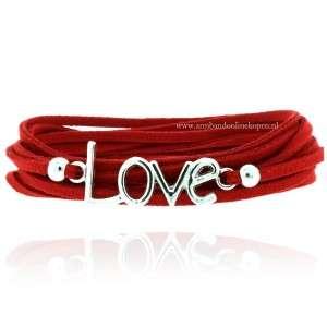 Wikkel Armband Love Rood Zilver