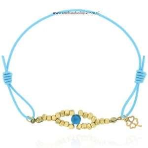 armband boze oog goud hemelsblauw