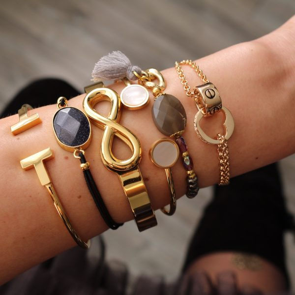 armband elastiek facet steen glimmering