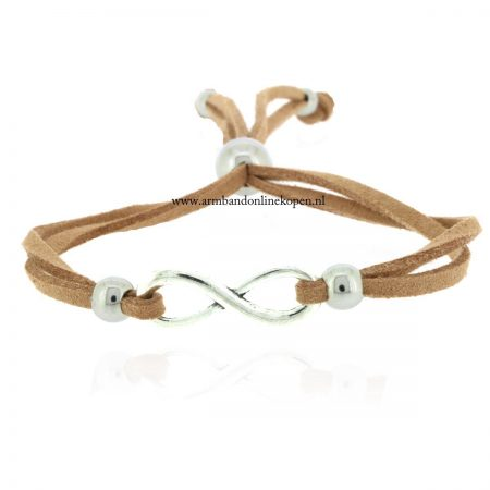 armband infinity zilver cappuccino suede