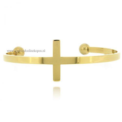 armband kruis cuff armband edelstaal goud