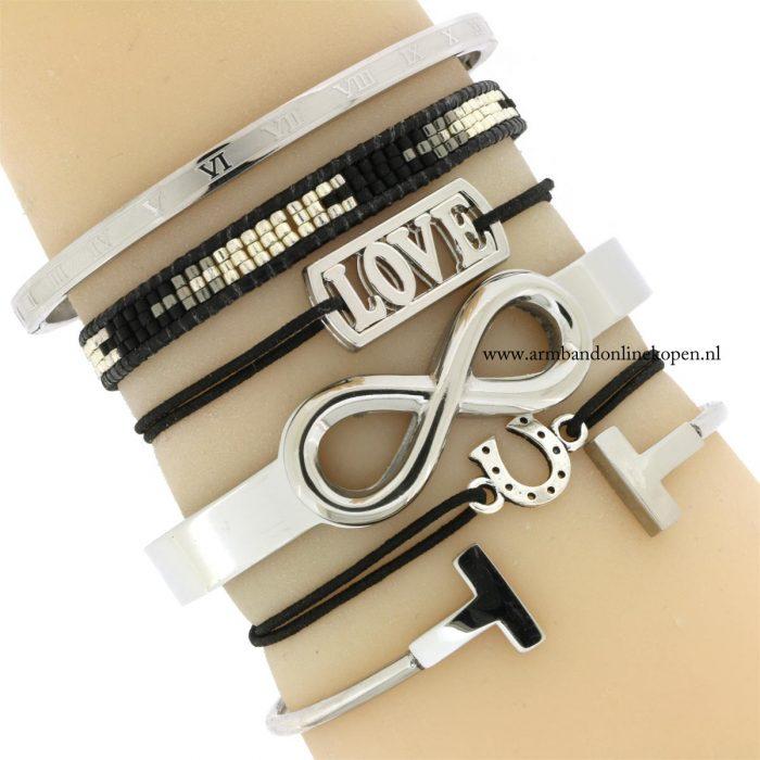 armband love staal zilver zwart