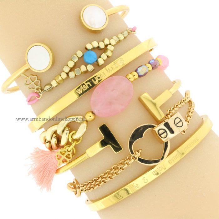 armband met steen roze quartz love armbandjes