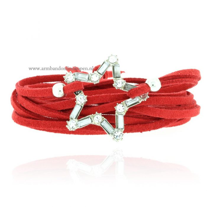 armband ster zilver rood